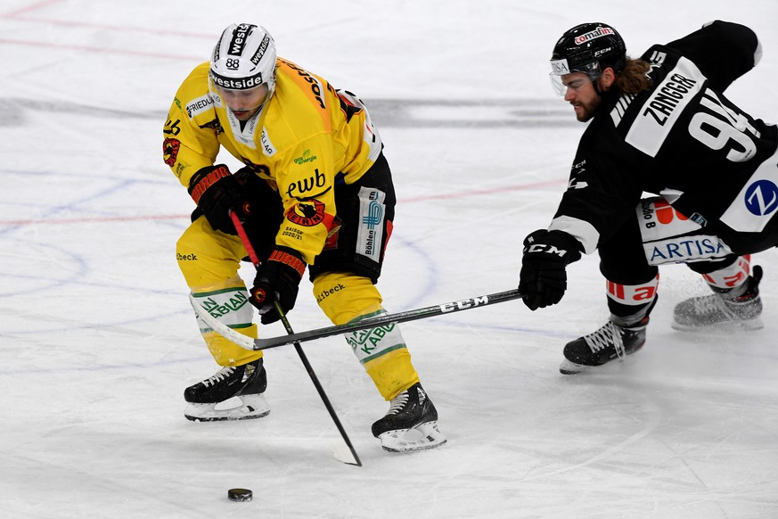 Lugano's player Sandro Zangger right, fights for the puck with Bern's player Inti Pestoni, left, during the preliminary round game of National League A (NLA) Swiss Championship 2020/21 between HC Lugano against SC Bern, at the Corner Arena in Lugano, Friday, March 05, 2021. (KEYSTONE/Ti-Press/Samuel Golay)