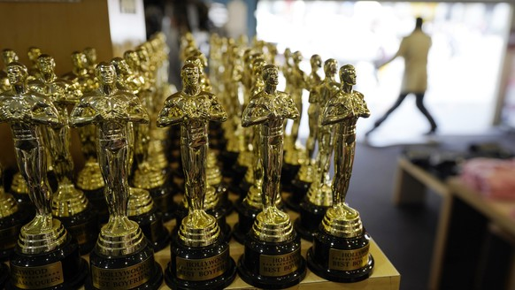 Souvenir Oscars are pictured inside the Souvenirs of Hollywood gift shop on Hollywood Blvd., Thursday, April 15, 2021, in Los Angeles. The 93rd Academy Awards will be held at various locations including the Dolby Theatre in Hollywood on Sunday, April 25. (AP Photo/Chris Pizzello)