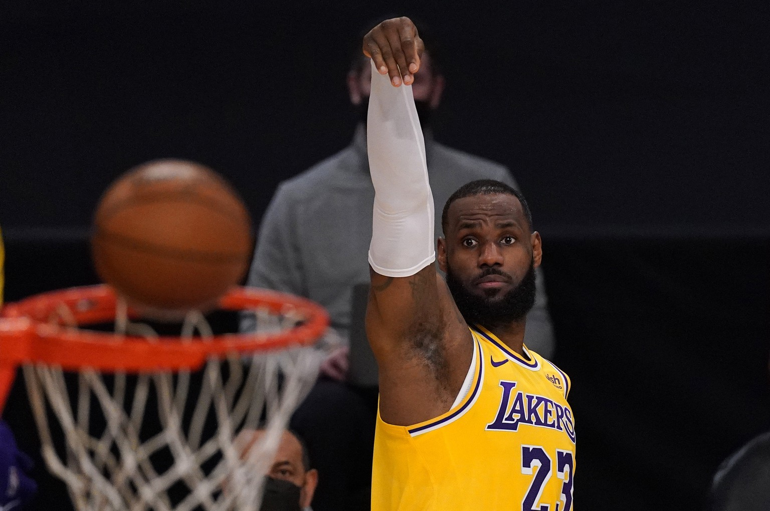 Los Angeles Lakers forward LeBron James shoots during the first half of an NBA basketball game against the Oklahoma City Thunder Monday, Feb. 8, 2021, in Los Angeles. (AP Photo/Mark J. Terrill) LeBron James