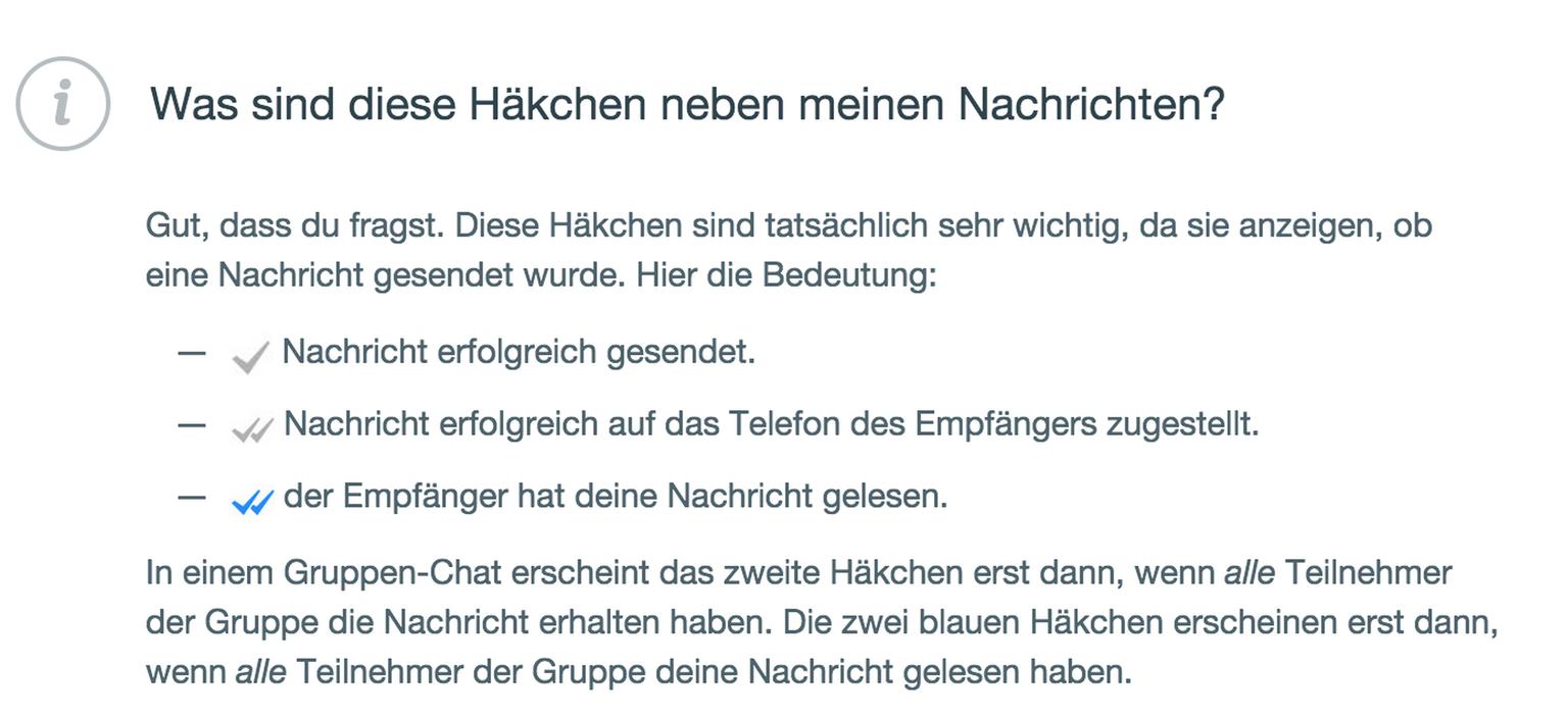 whatsapp bedeutung häkchen