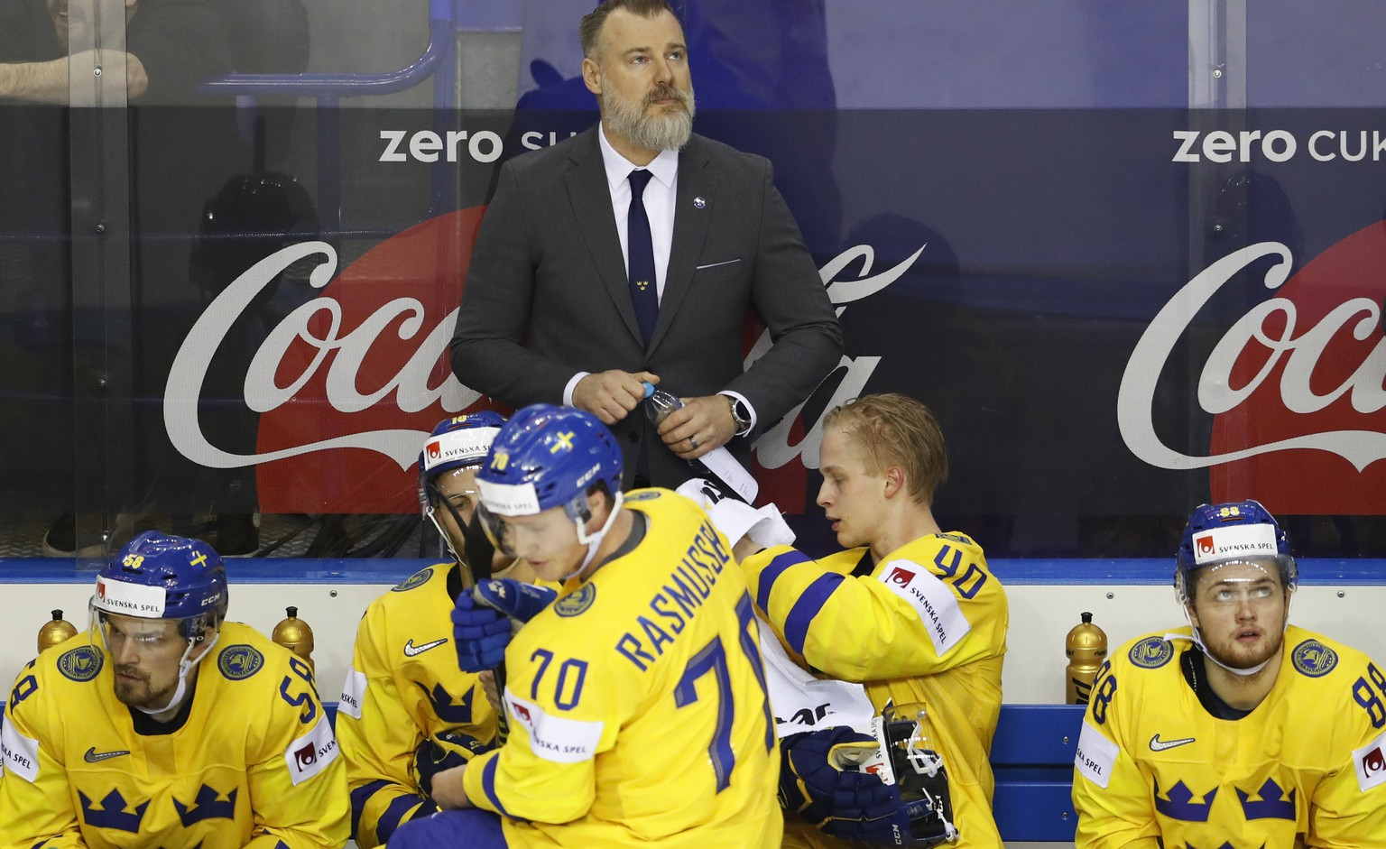 Sweden's head coach Rikard Groenborg stands by the bench during the Ice Hockey World Championships quarterfinal match between Finland and Sweden at the Steel Arena in Kosice, Slovakia, Thursday, May 23, 2019. (AP Photo/Petr David Josek)